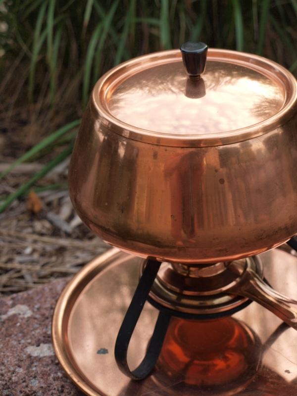 Close up of fondue pot