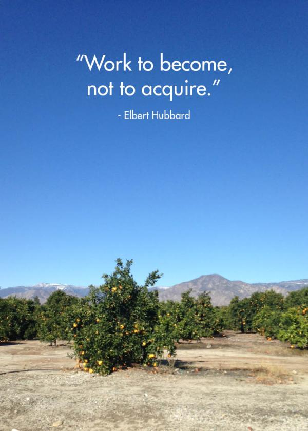 Work to become, not acquire